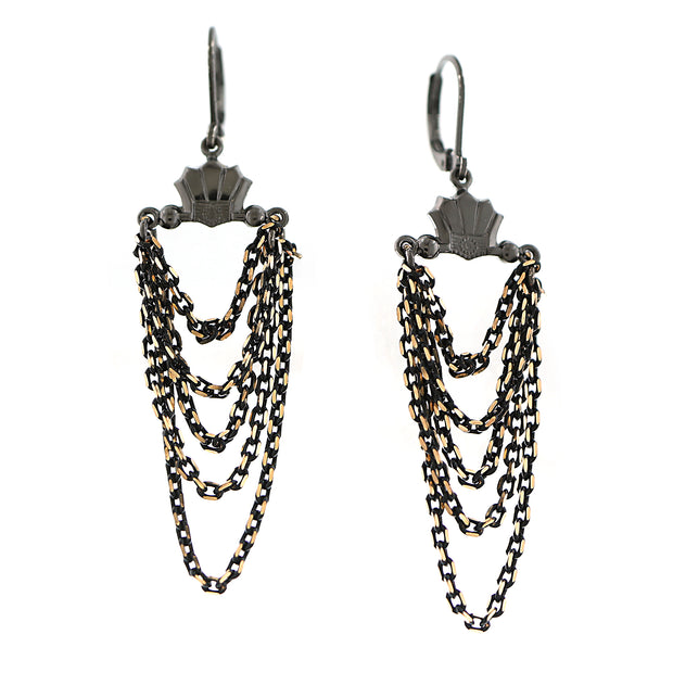 Black Tone And Gold Tone Chain Layered Drop Earrings