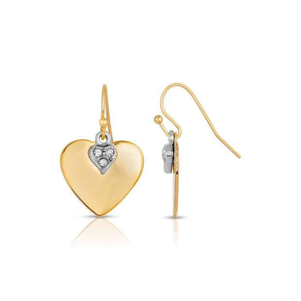 14K Gold Dipped And Clear Crystal Heart Earrings