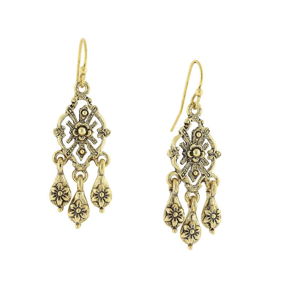 Fashion Jewelry - Gold Tone Chandelier Earrings