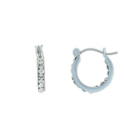 2028 Silver Tone Swarovski Crystal Hoop Earrings