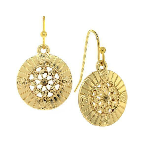 Gold-Tone Lt. Colorado Topaz Round Drop Earrings