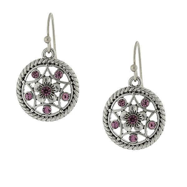 Silver-Tone Light Amethyst Purple Round Drop Earrings