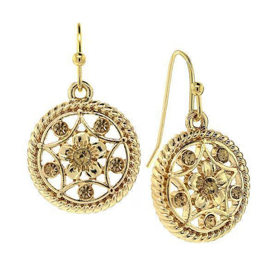 Gold Tone Light Topaz Crystal Round Drop Earrings