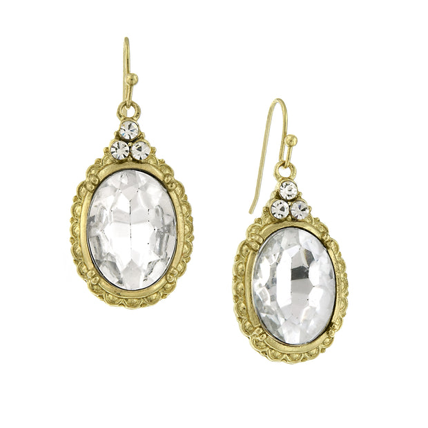 Crystal Clear Oval Crystal Drop Wire Earrings