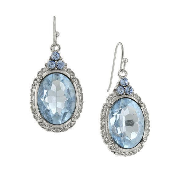 Silver-Tone Light Sapphire Blue Oval Drop Earrings