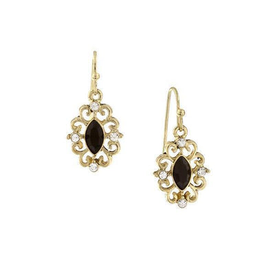 Gold-Tone Black With Crystal Navette Drop Earrings