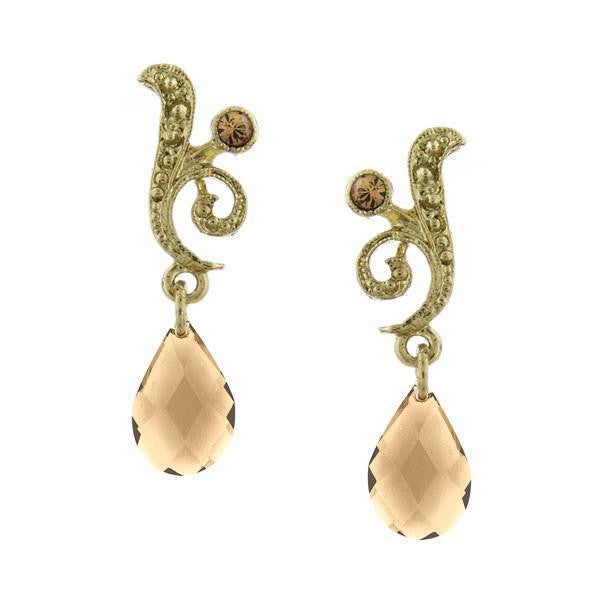Gold Tone Light Colorado Topaz Pearshape Drop Earrings