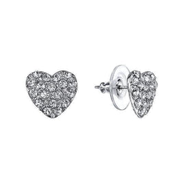 Silver-Tone Crystal Pave Heart Button Earrings