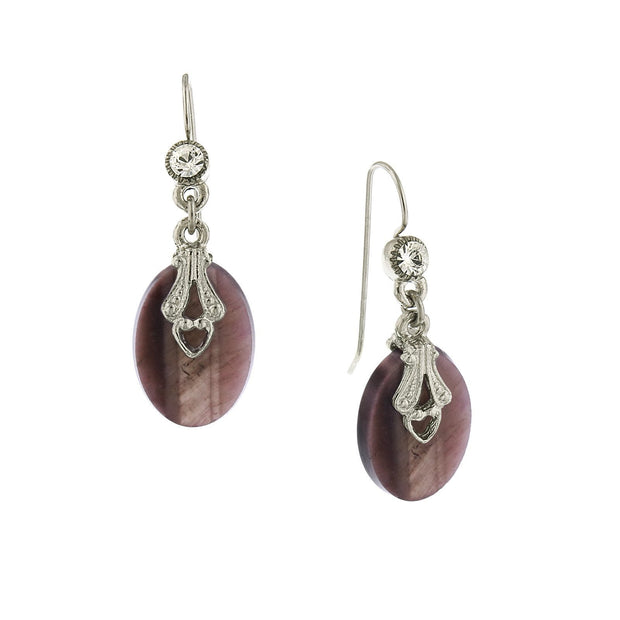 Silver Tone Amethyst Gemstone Oval Drop Earrings