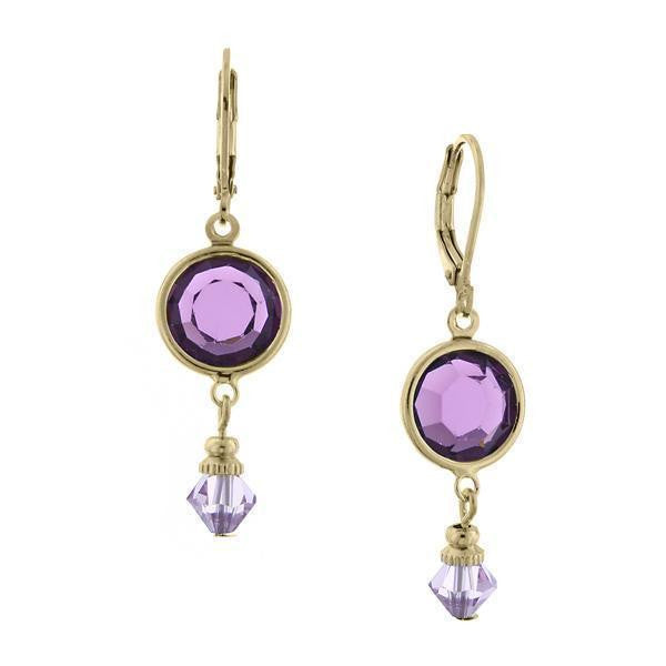 Gold Amethyst Swarovski Channel Drop Earrings