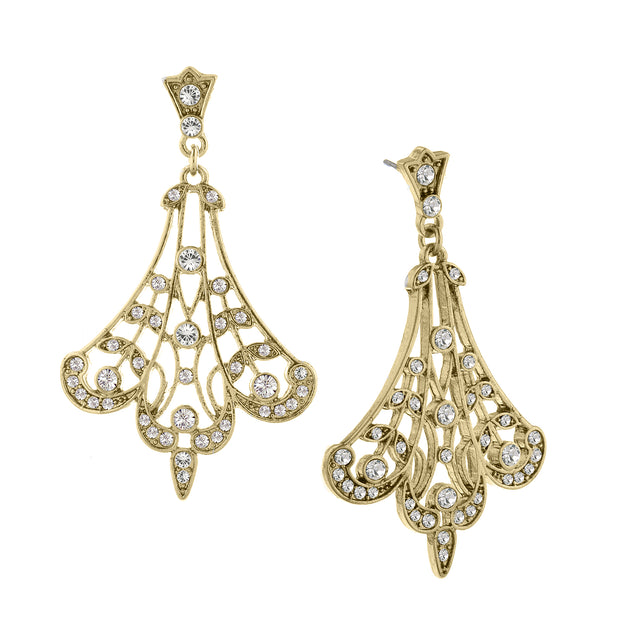 Gold Tone Crystal Fan Filigree Drop Earrings