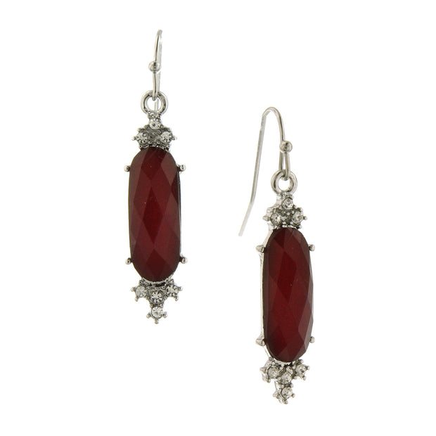 Silver-Tone Siam Red And Crystal Faceted Drop Earrings