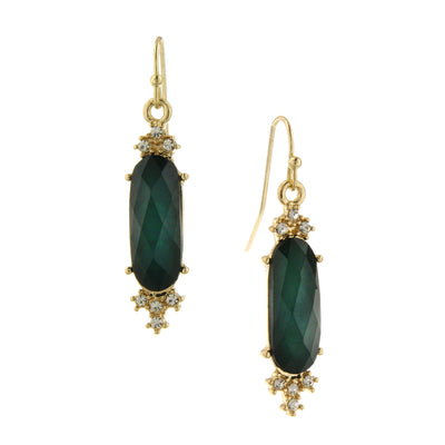 Gold-Tone Emerald Green W/ Crystal Faceted Drop Earrings