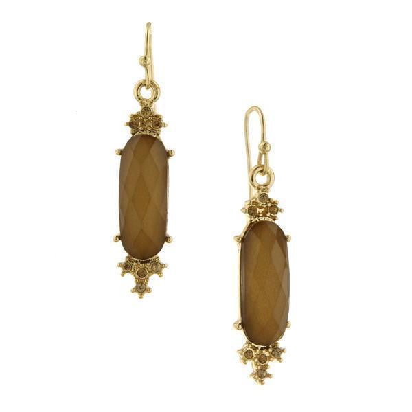 Gold Tone Light Topaz Color Faceted Drop Earrings