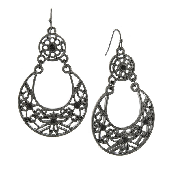 Jet Tone Large Filigree Drop Earrings