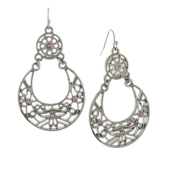 Silver Tone Amethyst Large Filigree Drop Earrings