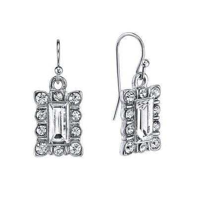 Silver Tone Crystal Rectangle Drop Earrings