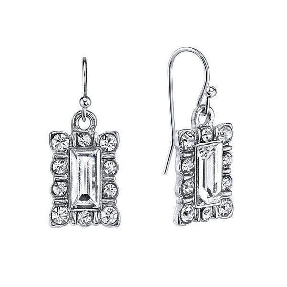 Silver-Tone Crystal Rectangle Drop Earrings