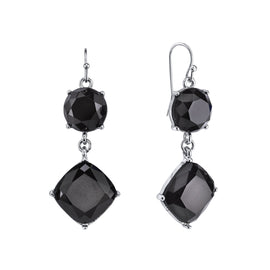 Silver-Tone Black Faceted Drop Earrings