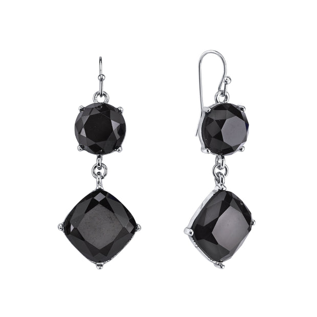 Silver Tone Black Faceted Drop Earrings