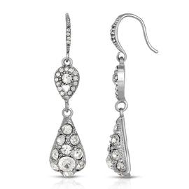 1928 Jewelry Silver-Tone Crystal Drop Earrings