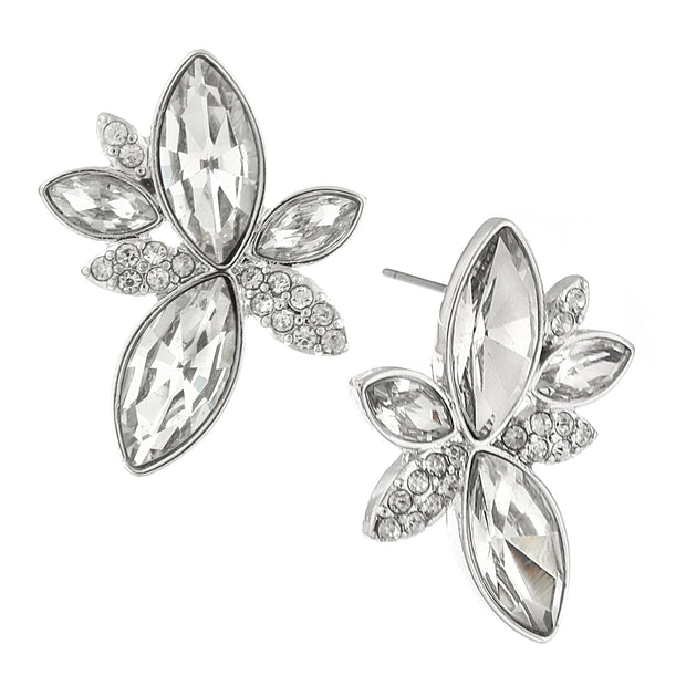 Silver-Tone Clear Crystal Statement Post Earrings