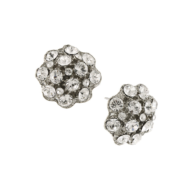 Silver-Tone Crystal Pave Button Earrings