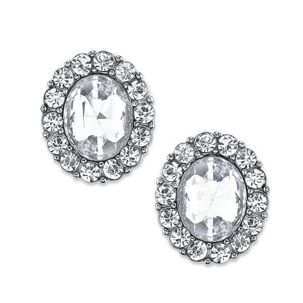 Silver Tone Crystal Oval Button Earrings