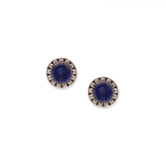 Silver Tone Blue Sodalite Gemstone Round Stud Earrings