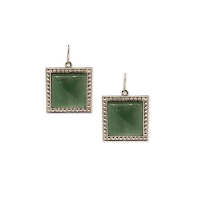 Silver Tone Green Aventurine  Gemstone Square Drop Earrings
