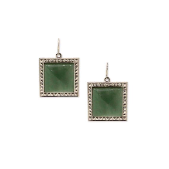 Silver Tone Green Semi Precious Square Drop Earrings