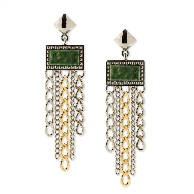 Silver & Gold Tone Jade Gemstone Square Stone Multi Chain Drop Earrings