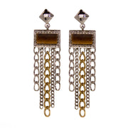 1928 Jewelry Silver & Gold Tone Square Gemstone Multi Chain Drop Earrings