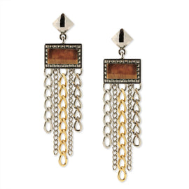Silver & Gold Tone Tiger Eye Semi Precious Square Drop Earrings