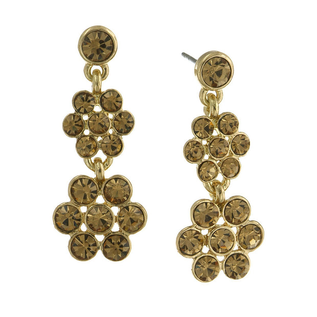 Gold Tone Lt. Colorado Topaz Flower Drop Earrings