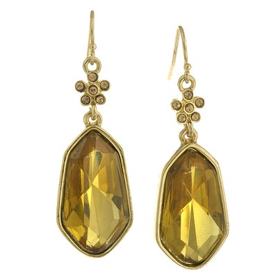 Gold Tone Lt. Colorado Topaz Faceted Drop Earrings