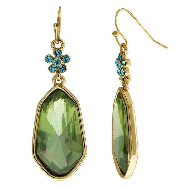 Gold-Tone Olive Green Faceted Drop Earrings