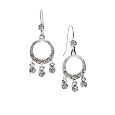Silver Tone Crystal Small Round Drop Earrings