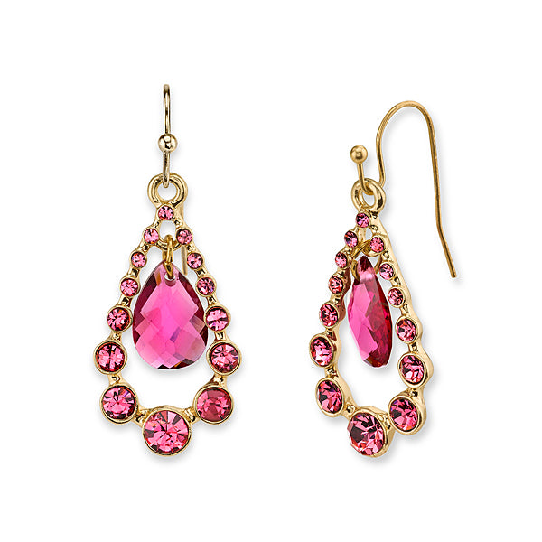 Gold Tone Fuschia Suspended Pearshape Drop Earrings