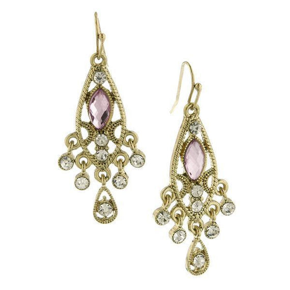 Gold Tone Crystal and Light Pink Faceted Chandelier Earrings