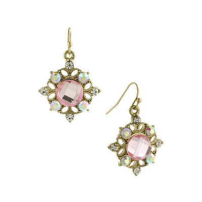 Gold-Tone Light Pink Faceted with Crystal AB Drop Earrings