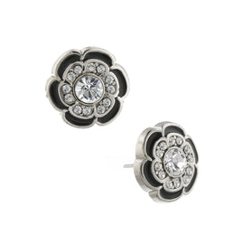 Silver-Tone Crystal with Black Enamel Flower Button Earrings
