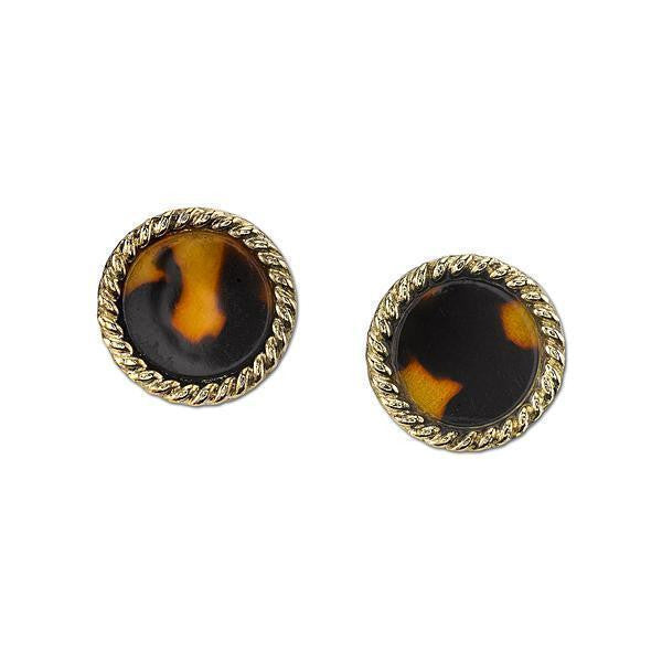 Gold Tone Tortoise Brown Round Button Earrings