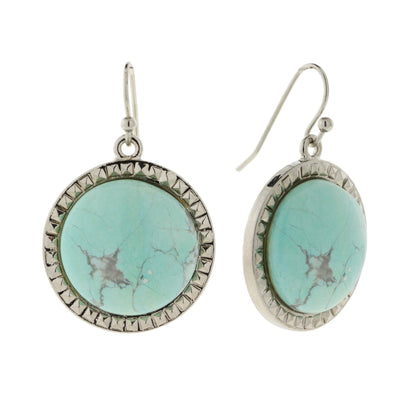 Silver Tone Turquoise Dyed Howlite Gemstone Round Wire Drop Earrings