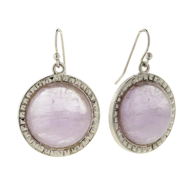 Silver Tone Purple Cape Amethyst Gemstone Round Wire Earrings