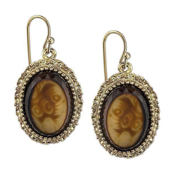Gold Tone Tortoise Brown Oval Drop Earrings