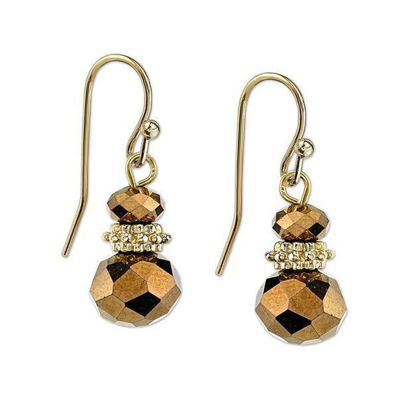 Fashion Jewelry - Gold Tone Copper Topaz Color Drop Earrings