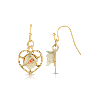 14K Gold-Dipped Heart With Porcelain Rose Earrings