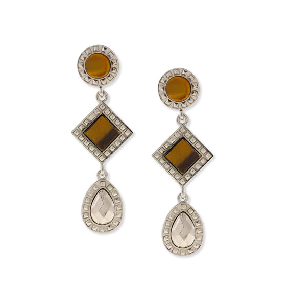 Silver Tone Tiger Eye Round Square Teardrop Earrings