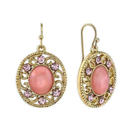 Gold Tone Pink Moonstone with Light Pink Crystal Drop Earrings